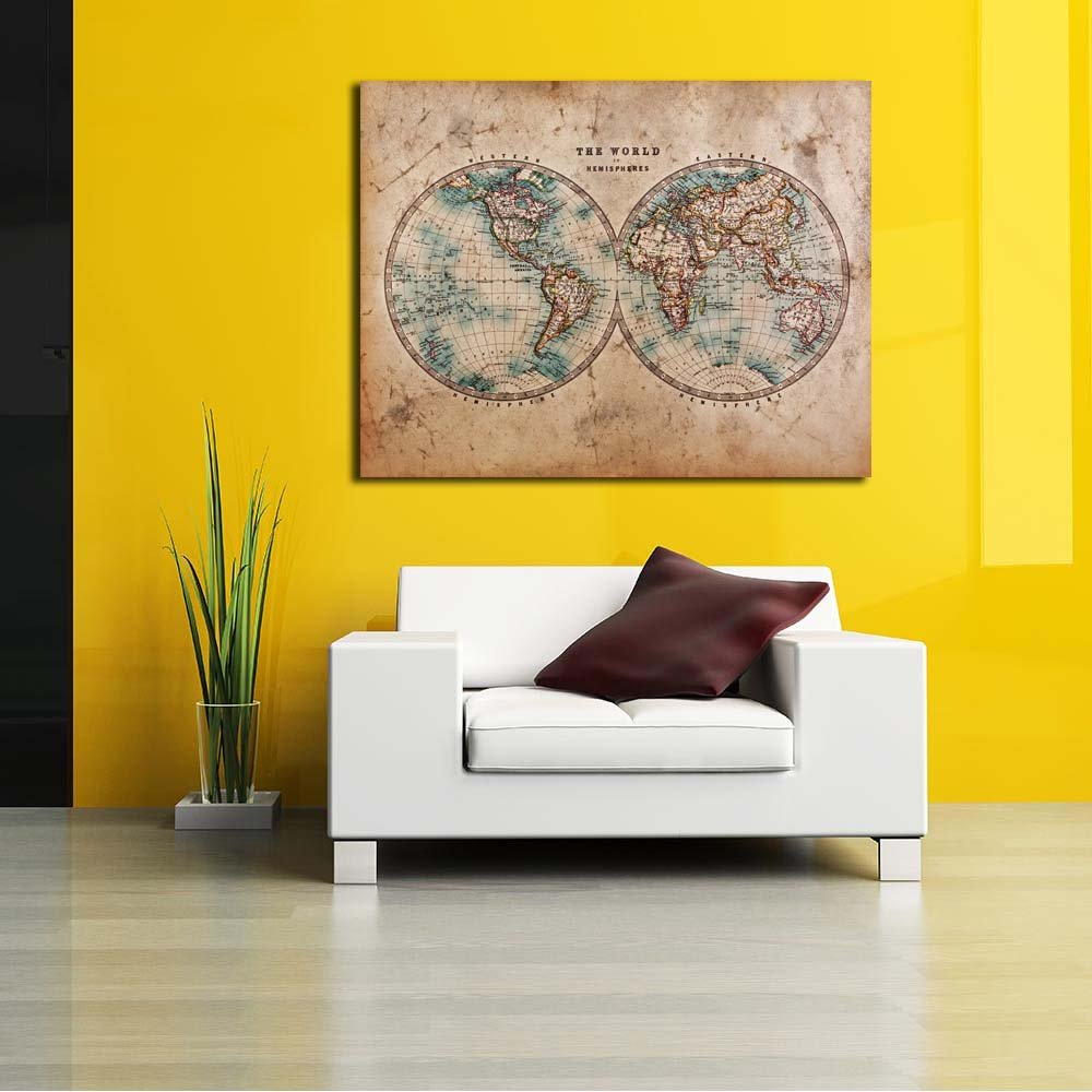 Pitaara Box Mid 1800s Old Western World Map of Western Old & Eastern Hemispheres Unframed Canvas Painting 41.4 x 32.1inch 738460