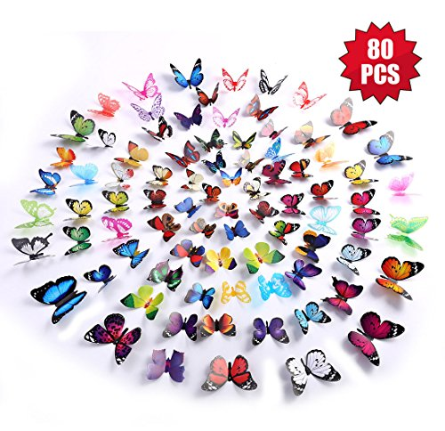 Eoorau Butterfly Wall Decals – 80PCS 3D Butterflies Wall Decor Removable Mural Stickers for Kids Room Bedroom