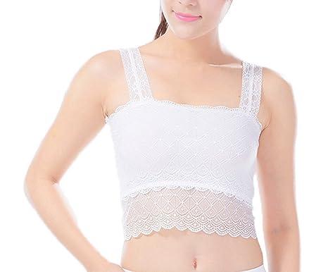 7ac042bc82 Bigood Women Girls Lace Brim See Through Boob Bandeau Tube Bra Vest Tops  White  Amazon.co.uk  Clothing
