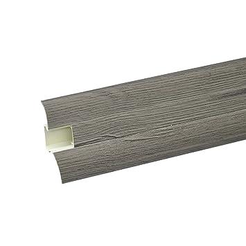 DQ-PP 5 D/übel Laminatleisten Fussleisten aus Kunststoff PVC Laminat Dekore 2,5m SOCKELLEISTEN 62mm PCV Eiche Anden