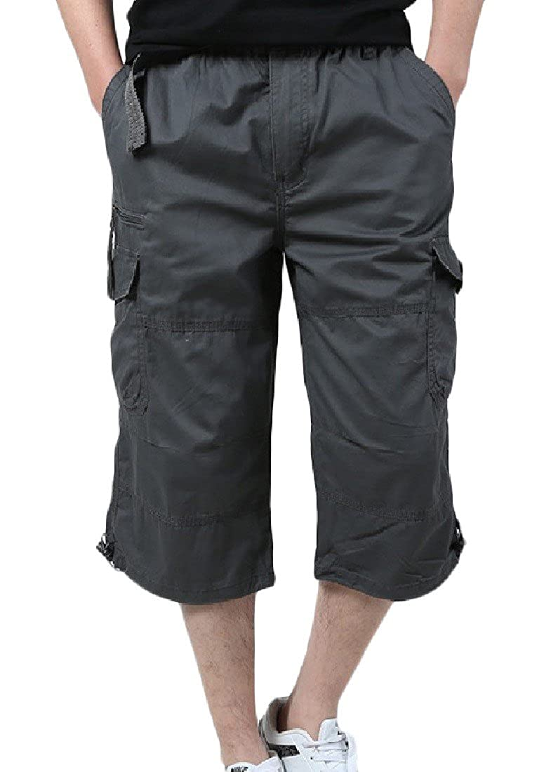 YUNY Men Outdoor Pocket Cotton 3//4 Summer Casual Cargo Carpi Pants XS Dark Grey