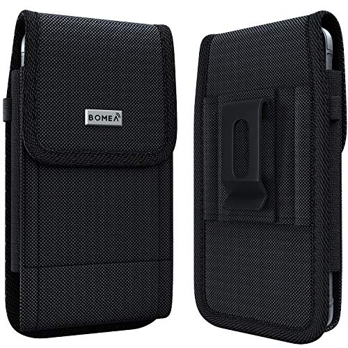 Bomea Rugged Nylon iPhone 8 6 6s 7 Holster Black Carrying Cell Phone Holder Belt Clip Holster Case Pouch for iPhone 8/6 / 6S / 7 (Fits iPhone with Otterbox Case/Lifeproof Case/Battery Case) (Iphone Holster With Belt Clip)