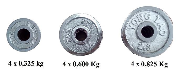 Ducomi® Arnold - Juego de 2 mancuernas de entrenamiento Componibili con 12 discos de metal para un fácil y cómodo uso - Peso Total dei mancuernas compresi ...