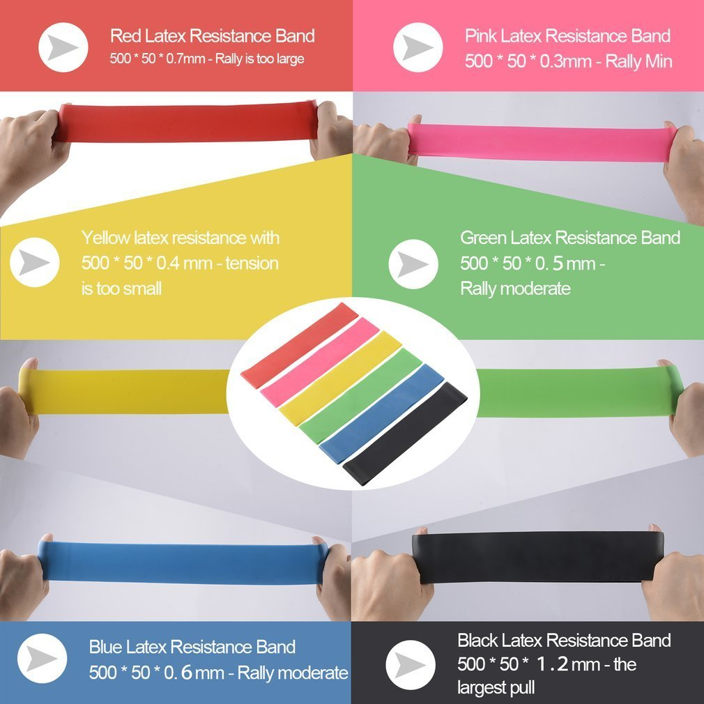 Sunsbell Yoga Resistencia Band Set 6 Nivel Bandas de Ejercicio de Resistencia de Bucle Training