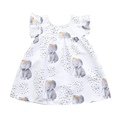 705f4bdb28f 🌺 Toddler Clothing Outfits Baby Girls Stars Elephant Print Dresses   Amazon.co.uk  Clothing