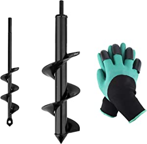 "HandsEase Garden Auger Drill Bit Set, 2 PCS Garden Rapid Planter with Garden Genie Gloves for Planter Tree Hand Cordless Drill Soil Posthole Digging Holes (11.8""x3.15"" and 8.7""x1.57"")"