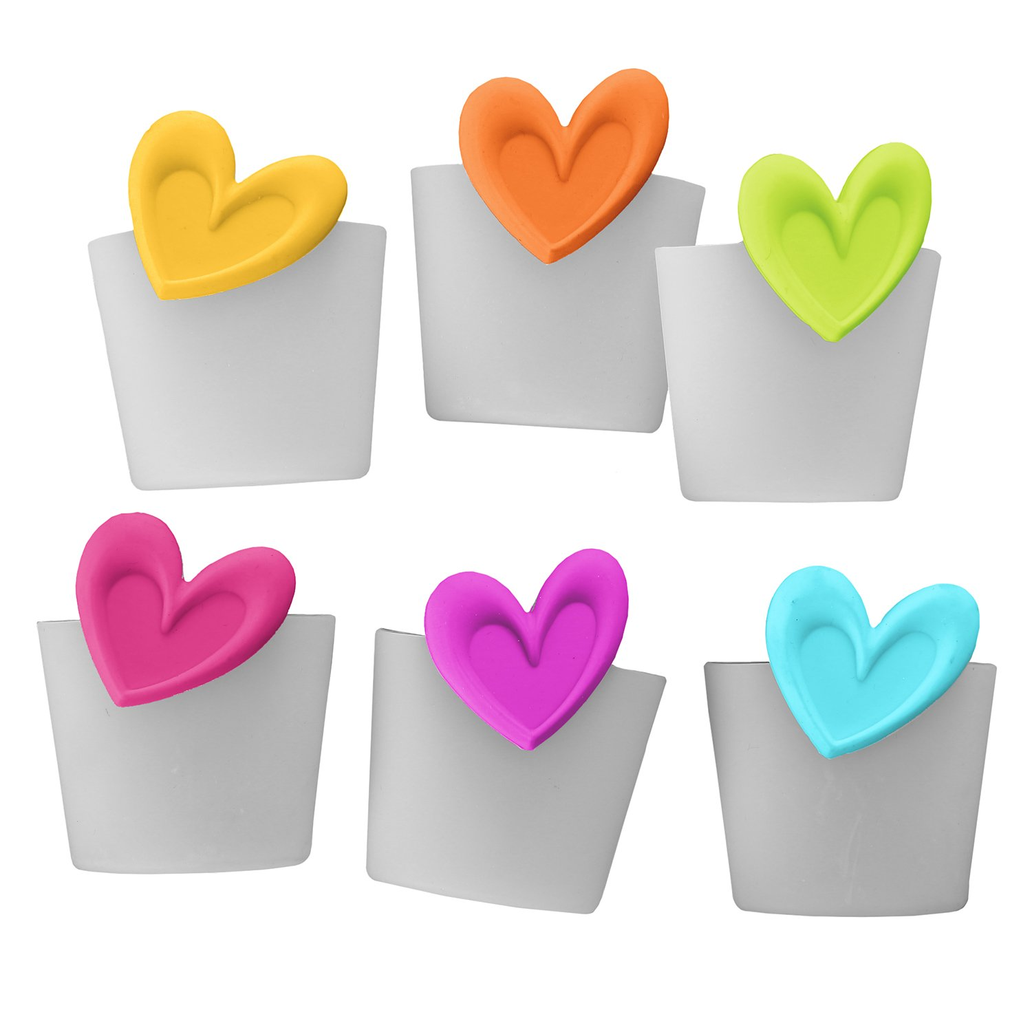 Teabloom Heart Shaped Tea Infusers in 6-Pack Value Set - FDA Approved Silicone with Colorful Heart Design - Great Gift for Tea Lovers - Gift Wrapping Available