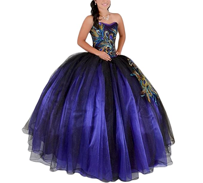 Ftby Womens Peacock Purple Ball Gown Womens Long Tulle Quinceanera