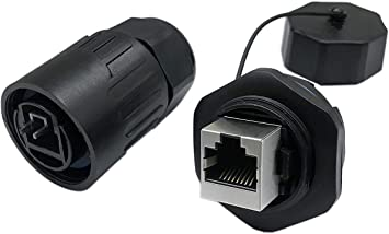 RJ45  Connector Sockets Female Ethernet Panel Mount Jack Plug IP44