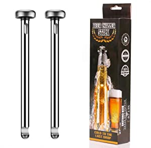 2 Pieces Beer Chiller Sticks for Bottles Stainless Steel Chiller Stick Beverage Cooler Cooling Sticks Keep Bottled Drinks Cold Great Gift Idea for Christmas Thanksgiving Men Birthday Gift