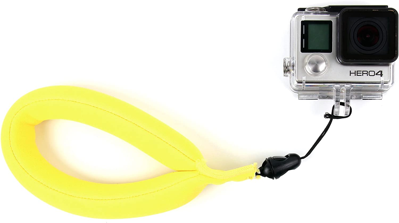 80 360 DURAGADGET Lightweight Waterproof Neoprene Camera Float//Floating Wrist Strap in Yellow for Nikon KeyMission 170