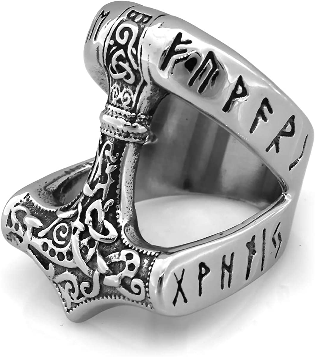 Size O - Z Thor/'s Hammer Viking Stainless Steel Mjolnir Raven Norse Ring
