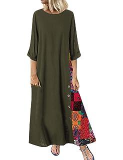 Romacci Vestido Largo Informal de Mujer Vestido Largo de algodón ...