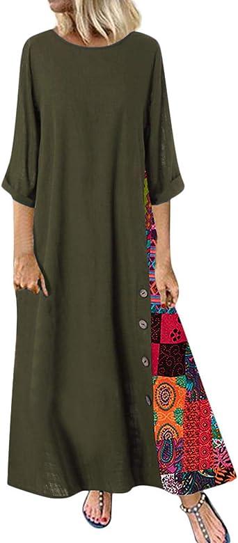 HAHAEMMA Señoras Vestidos Vestido Maxi Vestido Suelto Manga Larga Retro Lino Algodón Vestidos Largos Blusa Elegante Ancho Casual Vestidos de Verano Señoras Más El Tamaño: Amazon.es: Ropa y accesorios