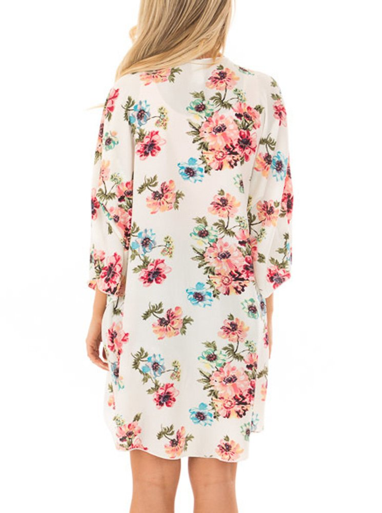 PINKMILLY Women Floral Print Kimono Cover up Sheer Chiffon Blouse Loose Long Cardigan Apricot Small by PINKMILLY (Image #5)