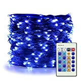 ER CHEN Blue Fairy Lights Plug In, 66ft 200 LED Starry String Lights Dimmable with Remote Control, Waterproof Copper Wire Christmas Decorative Lights for Bedroom, Patio, Garden, Yard, Party