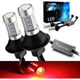 Syneticusa 3157 Error Free Canbus Ready Red LED Brake Parking Tail Stop Turn Signal Light Bulbs DRL Parking Lamp No…