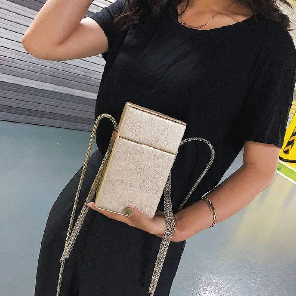 Color : Silver, Size : One Size Xingkaijixie Womens Shoulder Satchel Bag Small Square Bag Lock Single Shoulder Messenger Bag Mobile Phone Bag Simple Network red Envelope