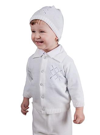 Boutique-Magique Gilet Blanc garçon avec Bonnet pour baptême  Amazon ... dd651d8f253