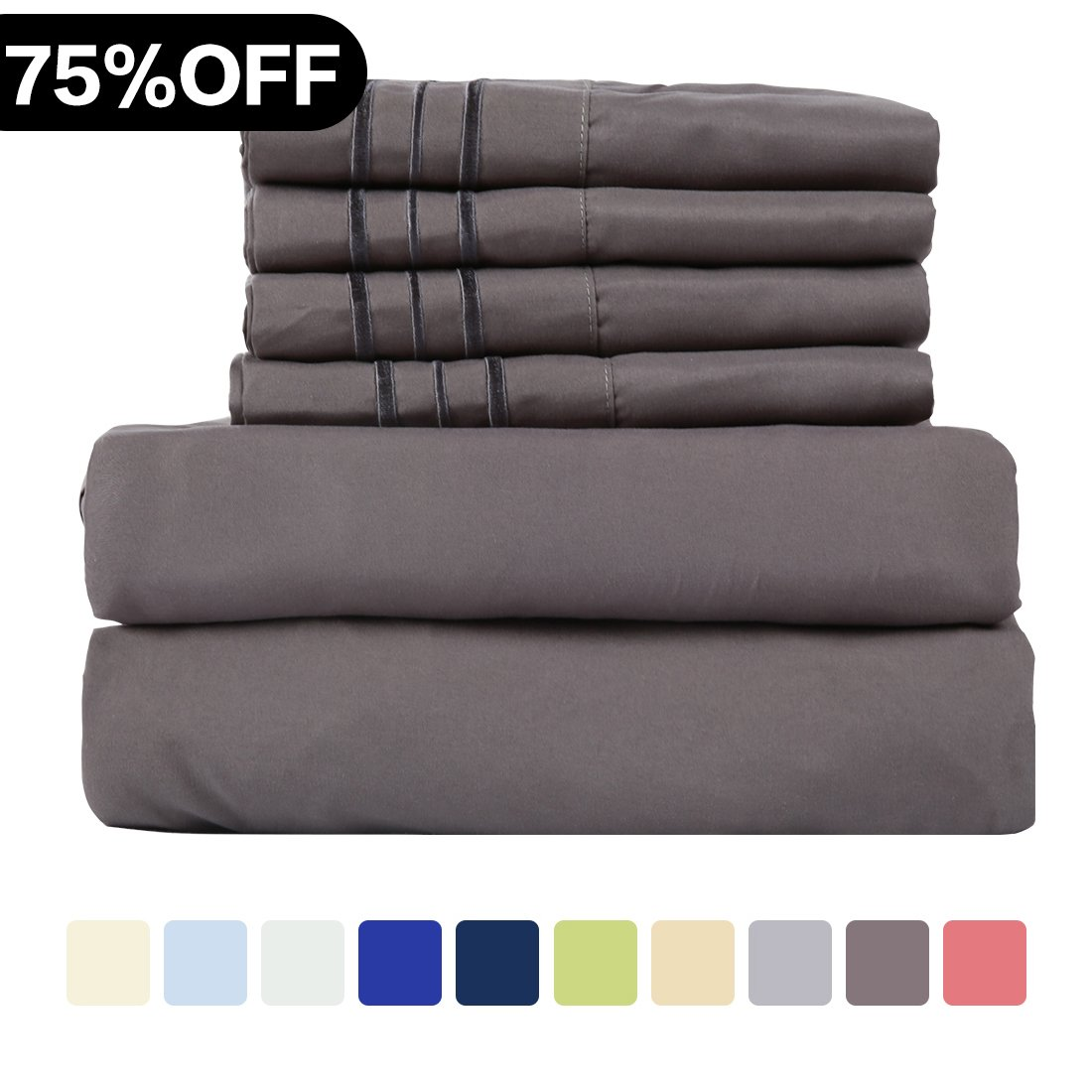 WARM HARBOR Microfiber Sheet Set Super Soft 1800 Thread Count Deep Pocket Bed Sheets Wrinkle, Fade, Stain Resistant Hypoallergenic -4 Piece(Dark Grey, Twin XL)