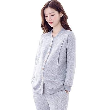 f9f9b9e58 Ropa para Dormir Pijamas de Maternidad Embarazo Ropa de Dormir de algodón  Gris Mangas largas Color