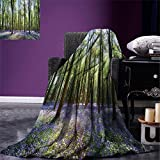 smallbeefly Woodland Decor Digital Printing Blanket Bluebells in Wepham Woods Landscape Flowers Rural Countryside Woodland Summer Quilt Comforter