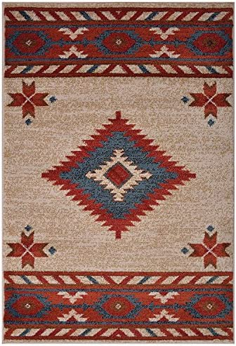 Nevita Collection Southwestern Native American Design Area Rug Southwest Design Rugs Geometric South West Pattern Off-White, 2 x 4