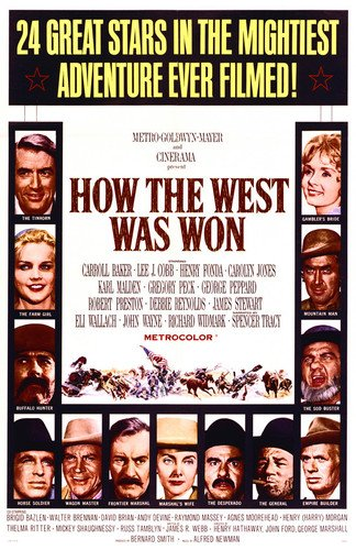 Gregory Peck and James Stewart and Richard Widmark in How the West Was Won 24x36 Poster by Silverscreen