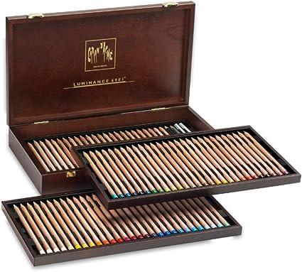 Caran d Ache Luminance 6901 – Estuche de madera, surtido 80 lápices – 76 + 4 colores dobles: Amazon.es: Oficina y papelería
