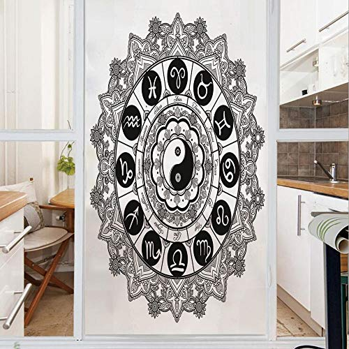 Decorative Window Film,No Glue Frosted Privacy Film,Stained Glass Door Film,Round Zodiac Theme Design with Yin Yang Symbol in Centre Astrology Signs Print,for Home & Office,23.6In. by 78.7In Black Whi
