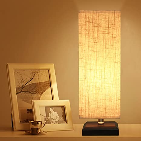 Zeefo bedside table lamp retro style solid wood table lamps with fabric shade nightstand mini