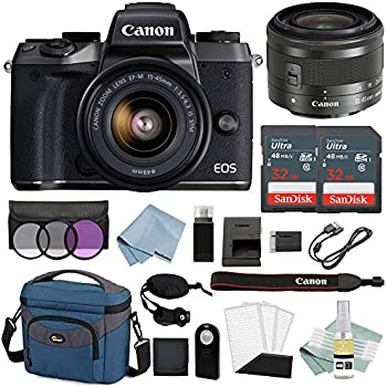 Canon EOS M5 Digital Camera (Black) With EF-M 15–45mm f/3.5–6.3 IS STM Lens + Advanced Accessory Bundle - Includes EVERYTHING You Need To Get Started