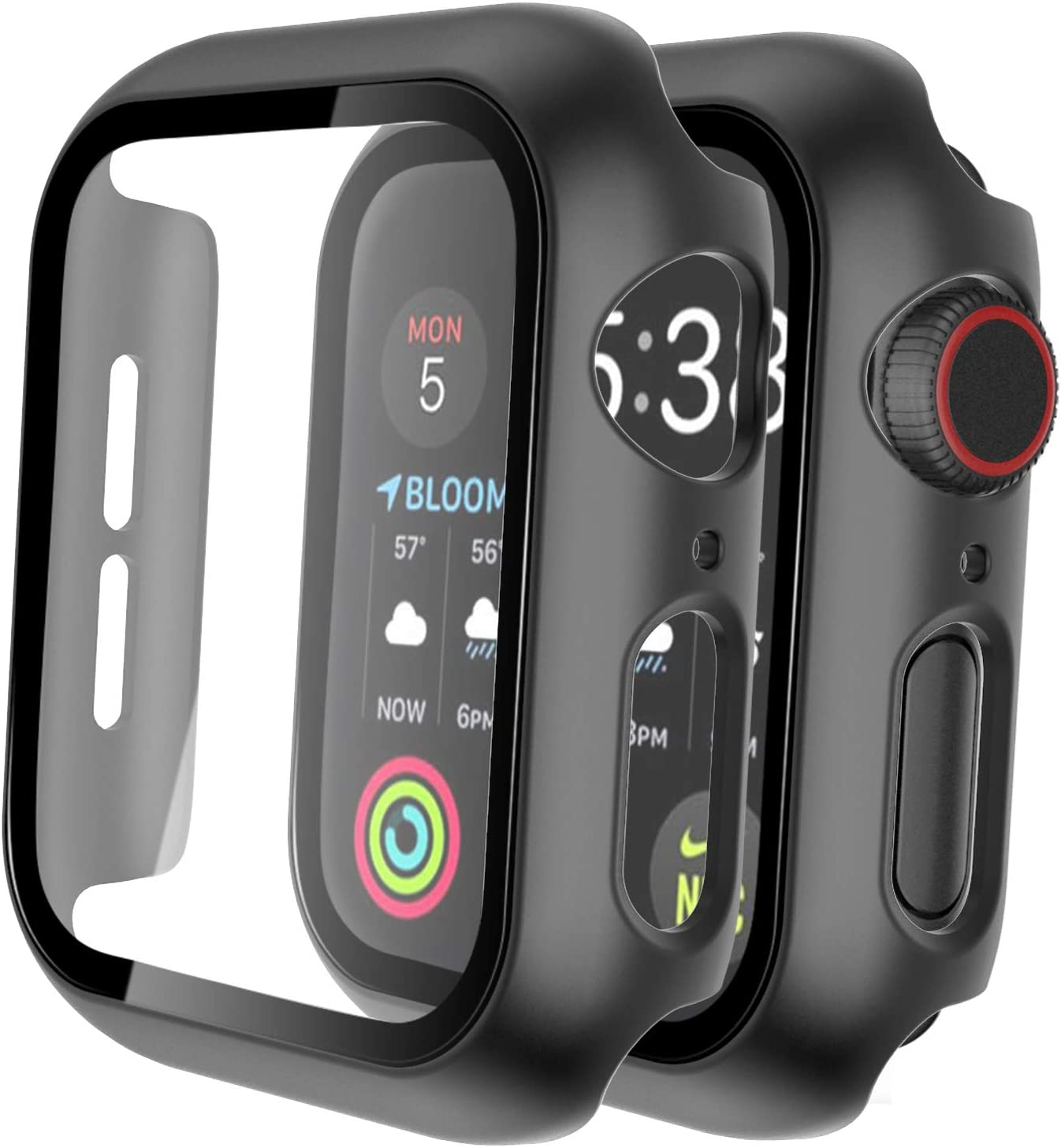 Tauri 2 Pack Hard Case Compatible for Apple Watch Series 3 2 1 42mm Built in 9H Tempered Glass Screen Protector Slim Bumper Touch Sensitive Full Protective Cover Compatible for iWatch 42mm - Black