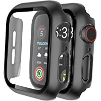 Tauri 2 Pack Hard Case for Apple Watch Series 3/2/1 38mm Built in 9H Tempered Glass Screen Protector, Slim Bumper, Touch…
