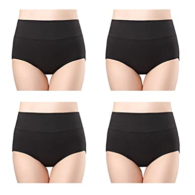 d21ebb03ca7 wirarpa Women s 4 Pack Ultra Soft High Waisted Bamboo Modal Underwear  Briefs Plus Size Panties Black