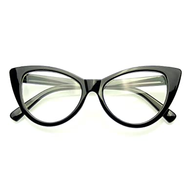09db7dea98 Super Cat Eye Glasses Vintage Fashion Mod Clear Lens Eyewear (Black)   Amazon.co.uk  Clothing