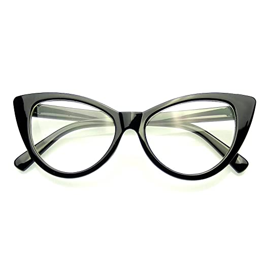 774bbfcb5c Super Cat Eye Glasses Vintage Fashion Mod Clear Lens Eyewear (Black ...