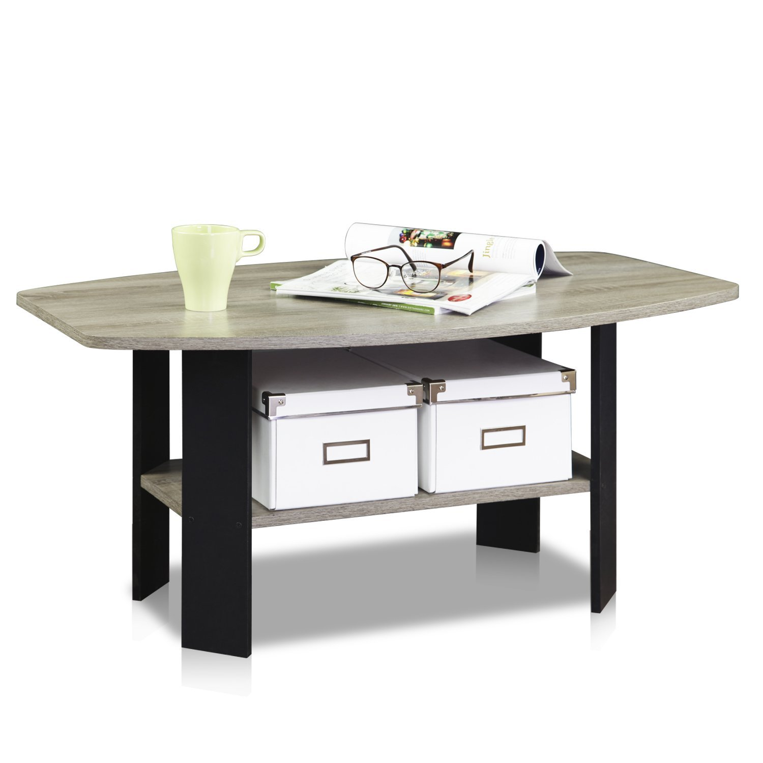 Amazon.com: FURINNO 11179GYW/BK Simple Design Coffee Table: Kitchen & Dining