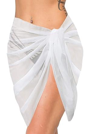 "19e6139a1f LA LEELA Rayon Swimsuit Casual Women Beach Wrap Sarong Solid  78""X21"" White_478"