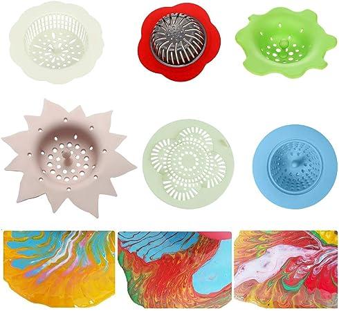 Crépines De Coulée En Acrylique 6pcs Panier En Plastique Dévier De Tamis De Fleur De Silicone En Plastique Pour Verser La Peinture Acrylique Et Créer