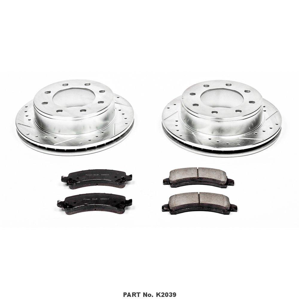 Power Stop K2039 Rear Brake Kit with Drilled//Slotted Brake Rotors and Z23 Evolution Ceramic Brake Pads