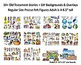 10 Old Testament Bible Stories + DIY Backgrounds Precut Felt Figures for Flannel Board Noah, David, Daniel, Job, Jonah, Joseph, Abraham, Ruth Esther, Moses Creation