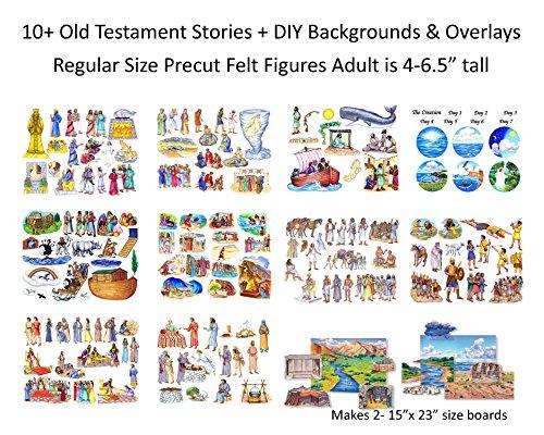 10 Old Testament Bible Stories + DIY Backgrounds Precut Felt Figures for Flannel Board Noah, David, Daniel, Job, Jonah, Joseph, Abraham, Ruth Esther, Moses Creation by Story Time Felts