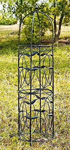 "Coral Tower (Obelisk Trellis Garden Outdoor Metal Black Tower 54"" Height w/ Decorative Finial & Vine Details)"