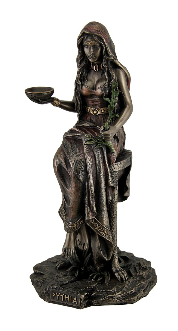 Resin Statues Pythia The Oracle of Delphi at The Temple of Apollo Bronzed Statue 4.5 X 10 X 4.5 Inches Bronze