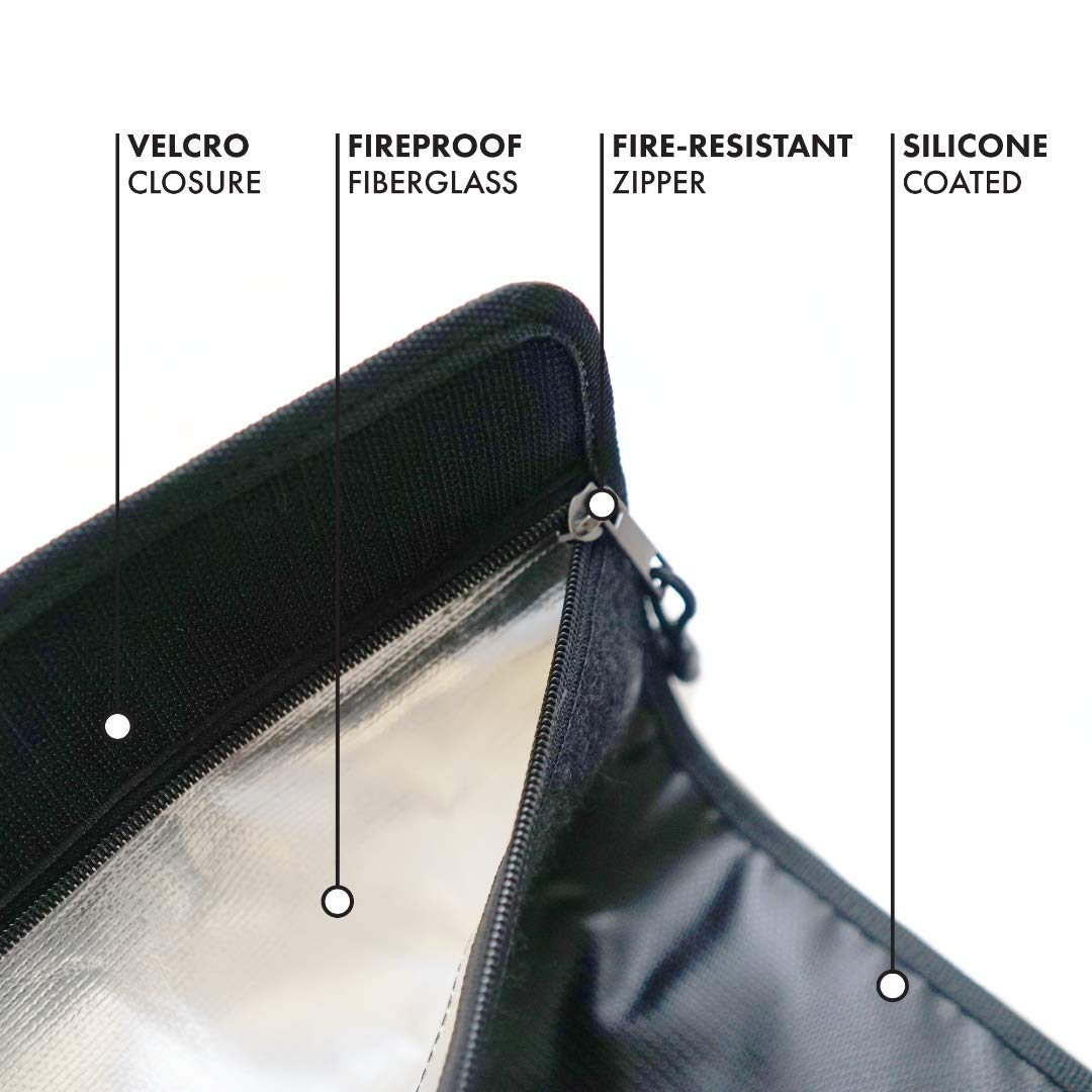 """Fire Resistant Zipper Fireproof Waterproof File Holder for Documents and Safe Pouch for Cash and Jewelry Fireproof Documents Bag 15/""""x11/"""" and Fireproof Money Bag 9/""""x7/"""" Non-Itchy Silicone Coating"""