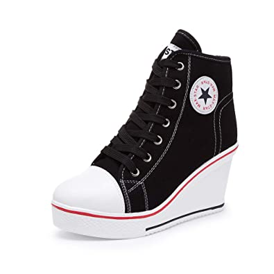 5335cd70846a Sokaly Women s Sneaker High-Heeled Canvas Shoes High-Top Wedge Sneakers  Platform Lace up