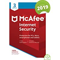 McAfee 2019 Internet Security, 3 Devices, 1 Year, PC/Mac/Android/Smartphones [Download]