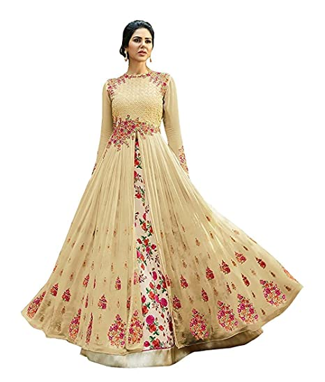 d62f4428fb Jay Ambe Textiles Women's Georgette Embroidered Anarkali Lehenga Choli  (UY01, Beige, Free Size