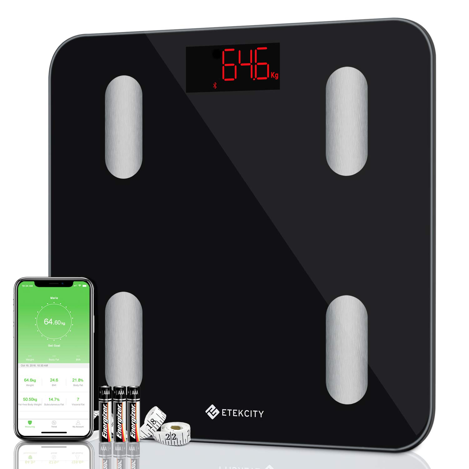 Etekcity Bluetooth Body Fat Scales, Digital Weight Bathroom Scales, High  Precision Weighing Scale for Body Composition Analyzer, Smart APP for Body